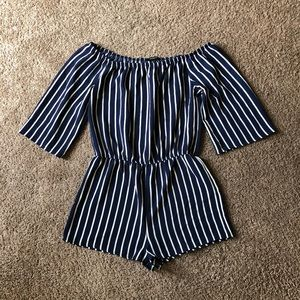 AMBIANCE Navy blue & white striped romper